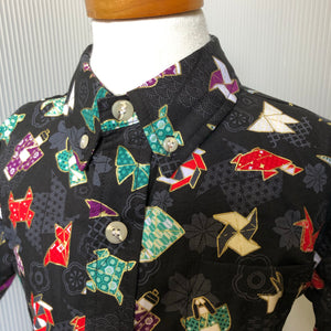Boy's Shirt: Japanese Cotton, Origami, Black
