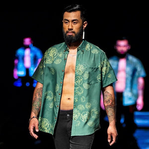Men's Shirt: Kaʻōpua Shirt, Polyester Zanzibar, Lehua Blossoms, Grass/Yellow