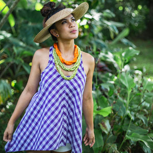 Women's Top: Lama Tank, Palaka, Purple/White