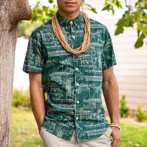 Men's Shirt: Kaʻōpua Shirt, Ka Waʻa, Green