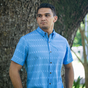 Men's Shirt: Kaʻōpua Shirt, Polyester Zanzibar, Lauhala, Light Blue/Black
