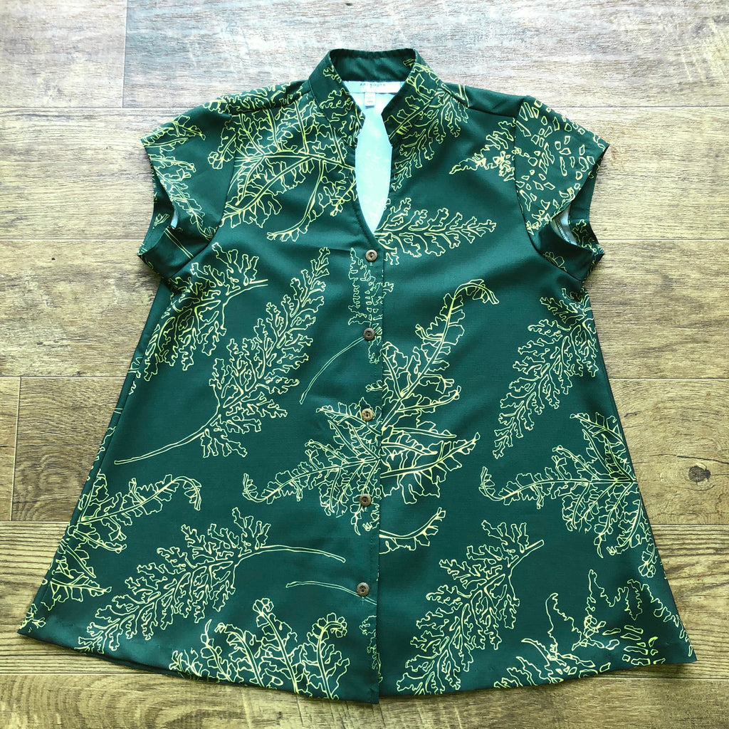Women's Top: Mandarin Collar Button Down, Polyester Zanzibar, Palaʻā, Green/Yellow