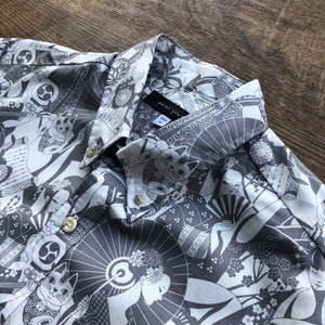 Men's Shirt: Japanese Cotton, Maiko, White/Grey