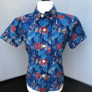 Boy's Shirt: Japanese Cotton, Fans, Blue