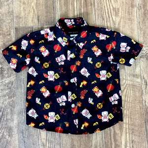 Boys Shirt: Kaʻōpua Shirt, Cotton, Year Of The Pig, Black