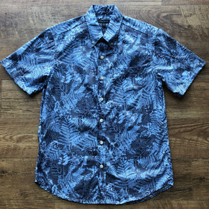Men's Shirt: Kaʻōpua Shirt, Cotton, Fern, Light Blue/Ash