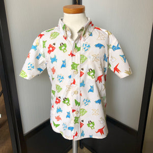 Boy's Shirt: Japanese Cotton, Origami, Cream