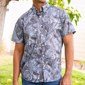 Men's Shirt: Kaʻōpua Shirt, Cotton, Fern, Grey/Ash