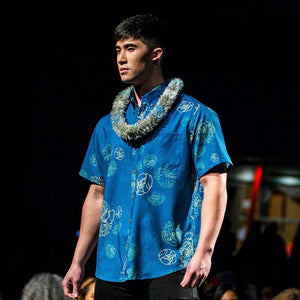 Men's Shirt: Kaʻōpua Shirt, Polyester Zanzibar, Lehua Blossoms, Teal/Yellow
