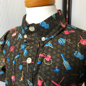 Boy's Shirt: Japanese Cotton, Omocha, Black