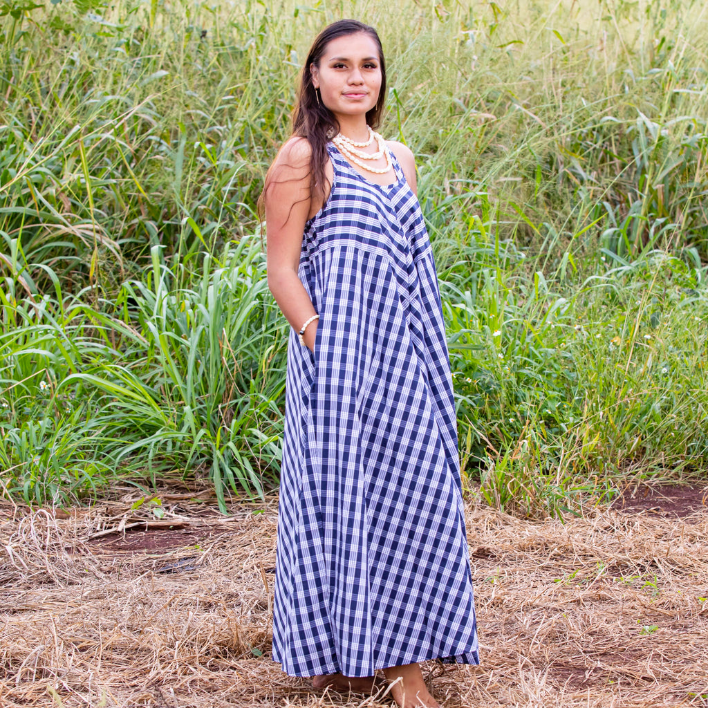 Women's Dress: Trapeze Maxi Dress, Palaka, Navy/White