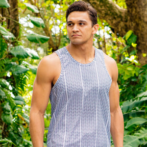 Men's Tank: Moisture-Wicking, Maka O'eno, White/Black