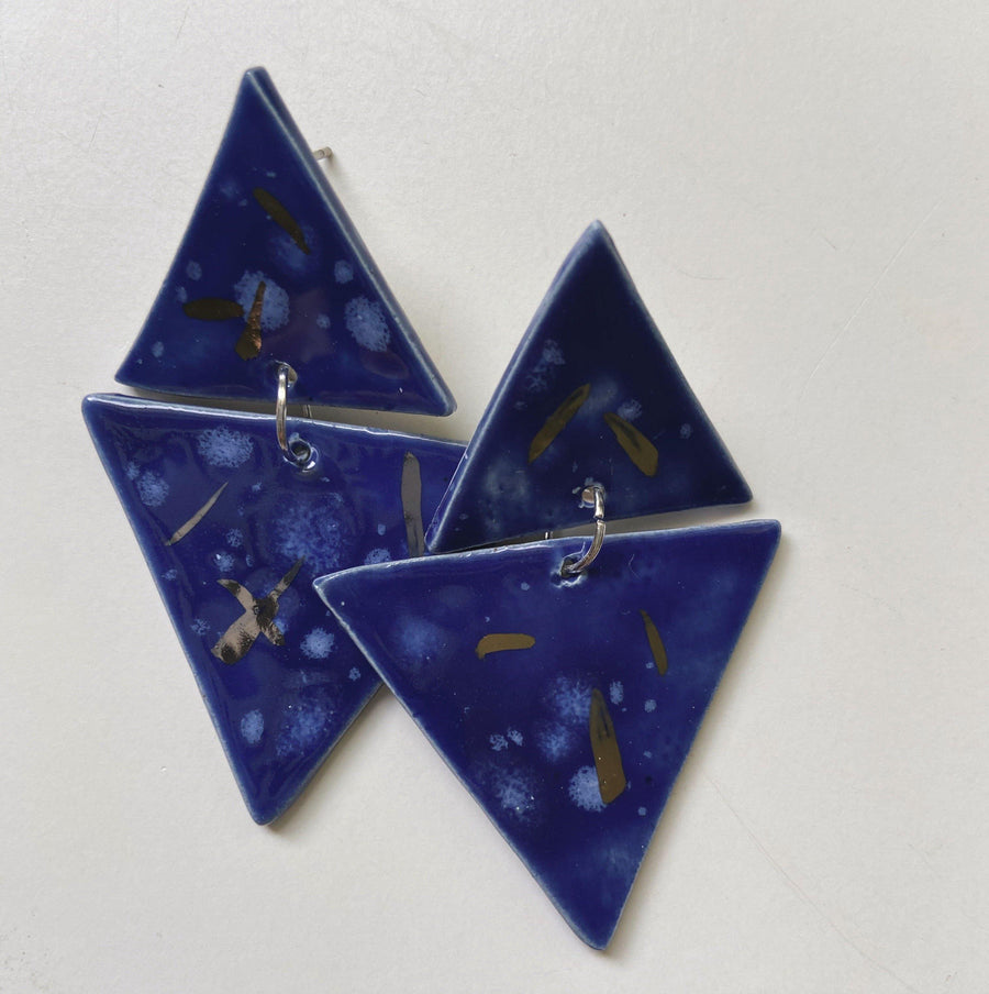 blue and silver triangle earrings