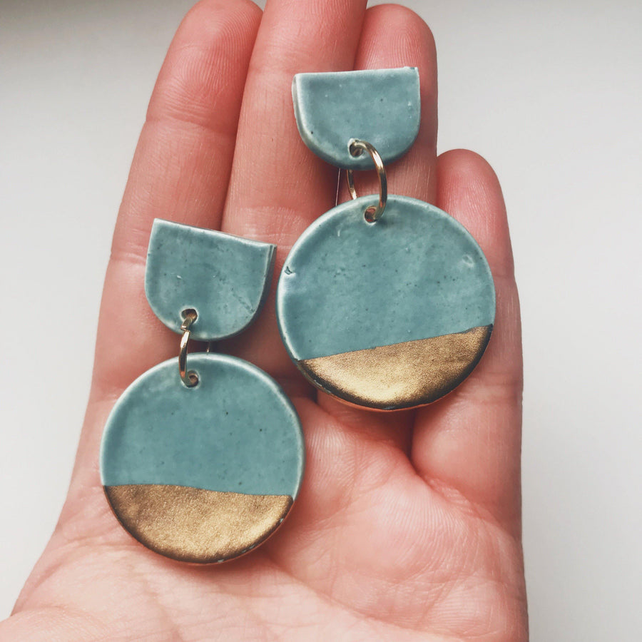 Matte Blue and Gold Circle Drop Earrings - gloriafaye