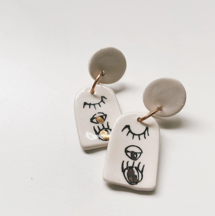 BLINK- eye earrings - gloriafaye