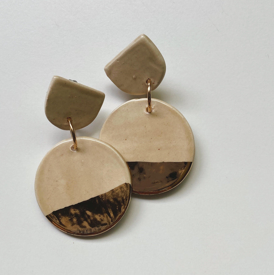 Sand Beige and Gold Circle Drop Earrings - gloriafaye