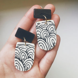 Black and White Arch Statement Earrings - gloriafaye