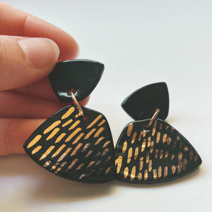 Black and gold Trapezoid Statement Earrings - gloriafaye