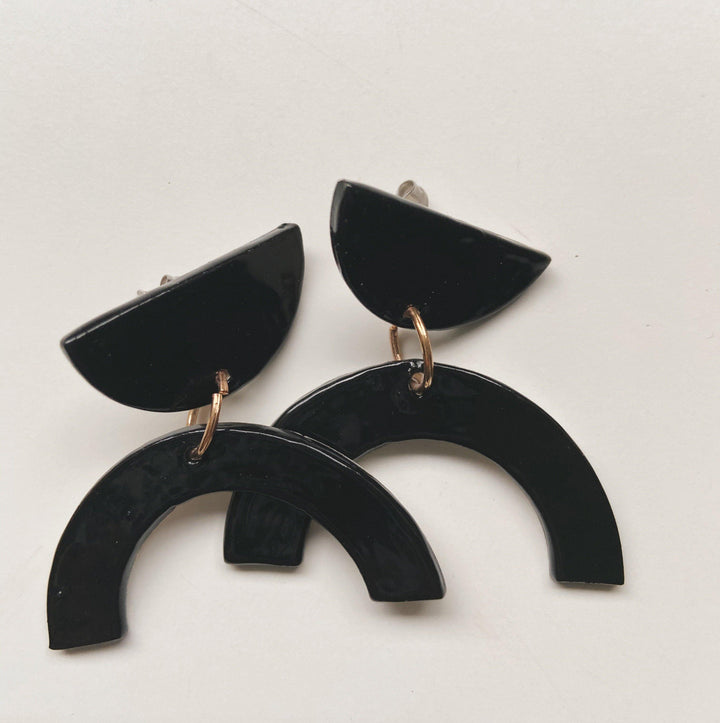 Black Arch Statement Earrings - gloriafaye