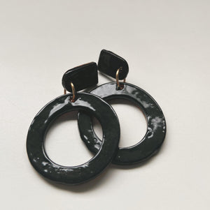 Black Hoop Statement Earrings - gloriafaye