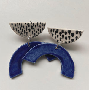 Cobalt Blue and Line Art Arch Statement Earrings - gloriafaye