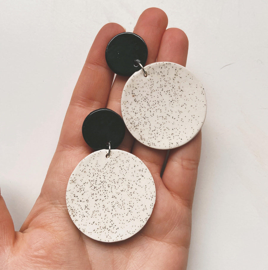 black and white ceramic earrings