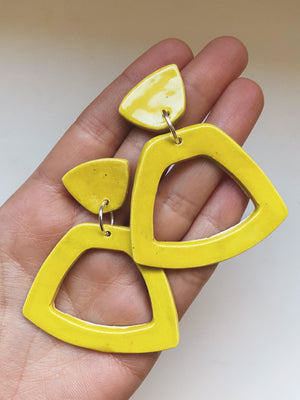 WILD- Chartreuse Trapezoid Statement Earrings - gloriafaye