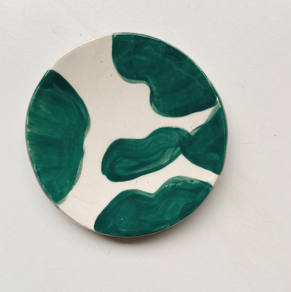 teal and white trinket dish