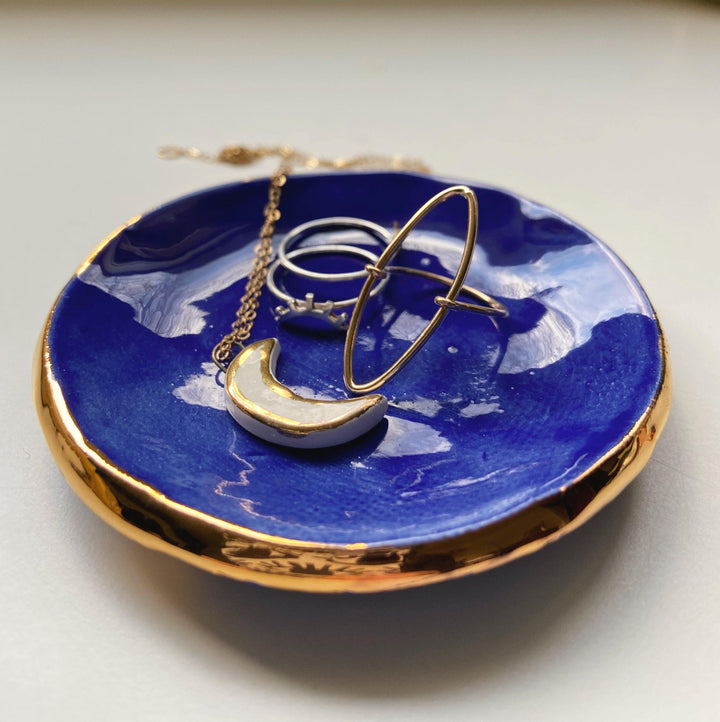 cobalt blue and gold catch all dish - gloriafaye