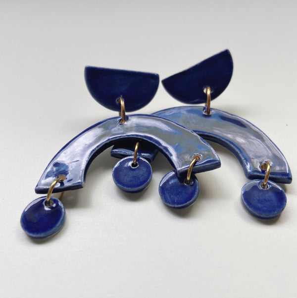 Cobalt Blue Arch Statement Earrings - gloriafaye