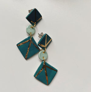 art deco ceramic earrings