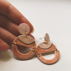 peach and gold circle ceramic earrings