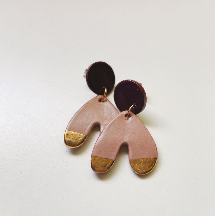 Mauve and purple gold on abstract arch earrings