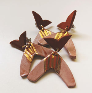 mauve and terra cotta ceramic earrings