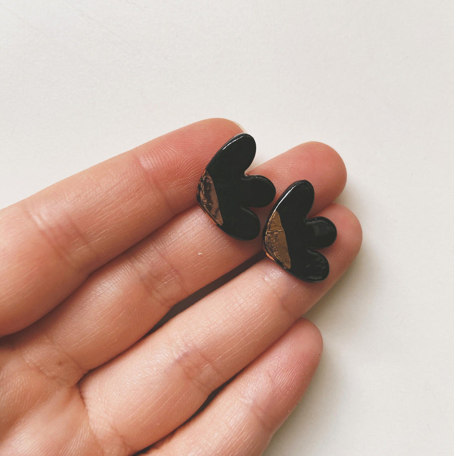Black and gold abstract studs
