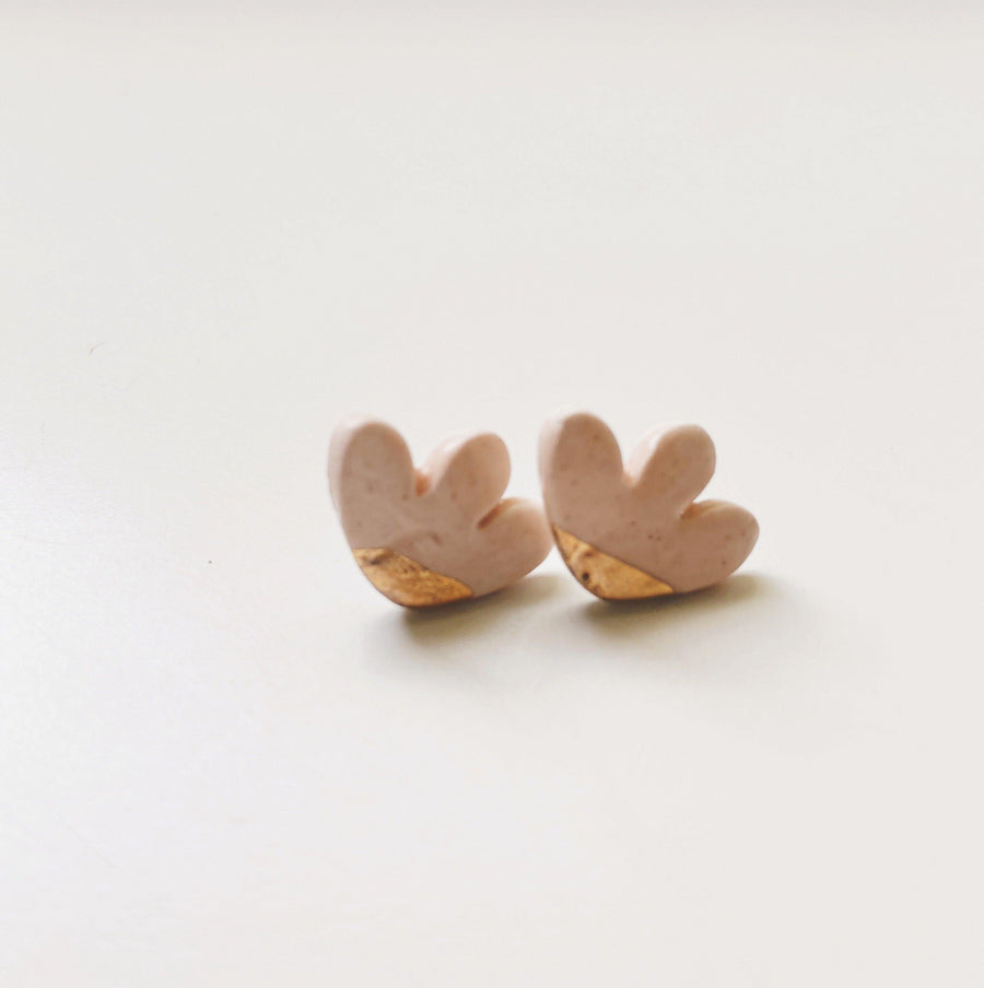 pink and gold abstract studs