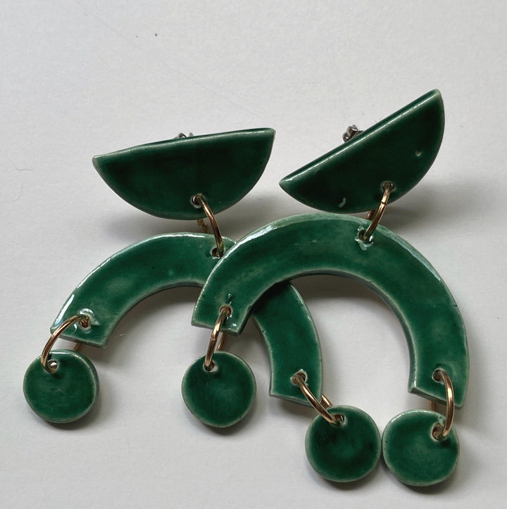 Emerald Arch Statement Earrings - gloriafaye