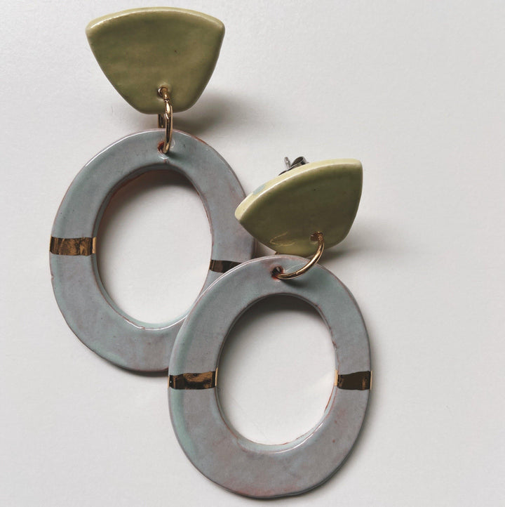 FOOLS- Light Blue and key lime oval hoops - gloriafaye