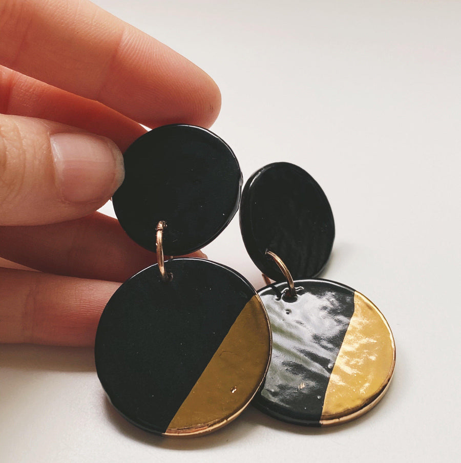 GILA- Black and Gold Earrings - gloriafaye