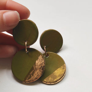 GILA- Avocado and Gold Earrings - gloriafaye