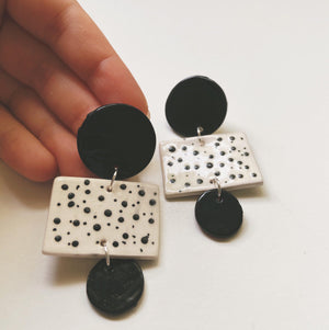 Black and white polka dot geometric ceramic earrings