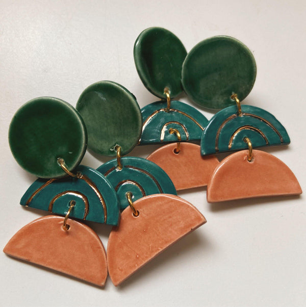 layered green teal and blue ceramic earrings
