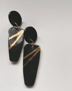 IRENE-  Black and gold statement earrings - gloriafaye