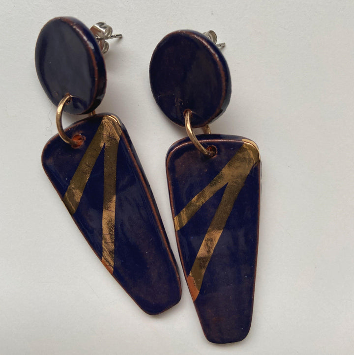 IRENE-  Navy and gold statement earrings - gloriafaye