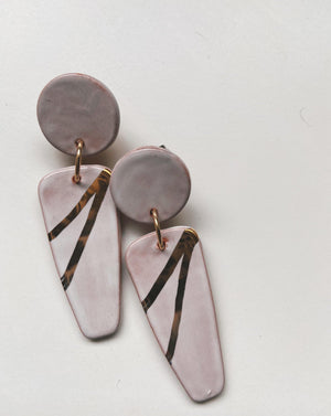 IRENE-  White and gold statement earrings - gloriafaye