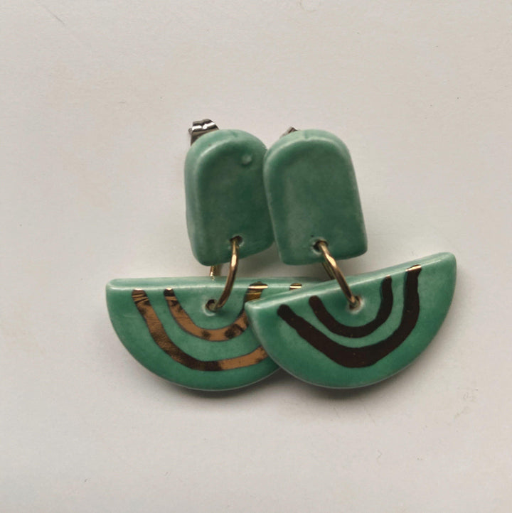 Jade and gold rainbow drop earrings - gloriafaye