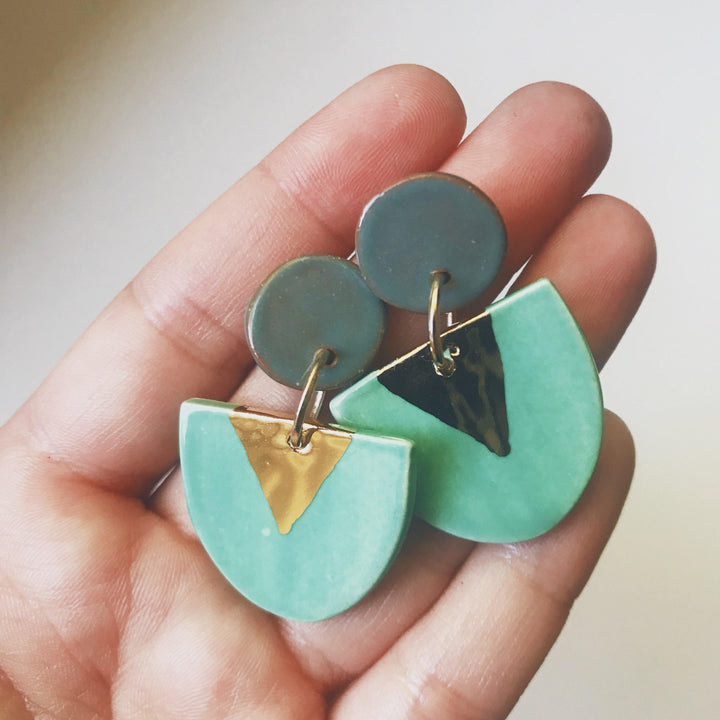 Jade and gold drop earrings - gloriafaye
