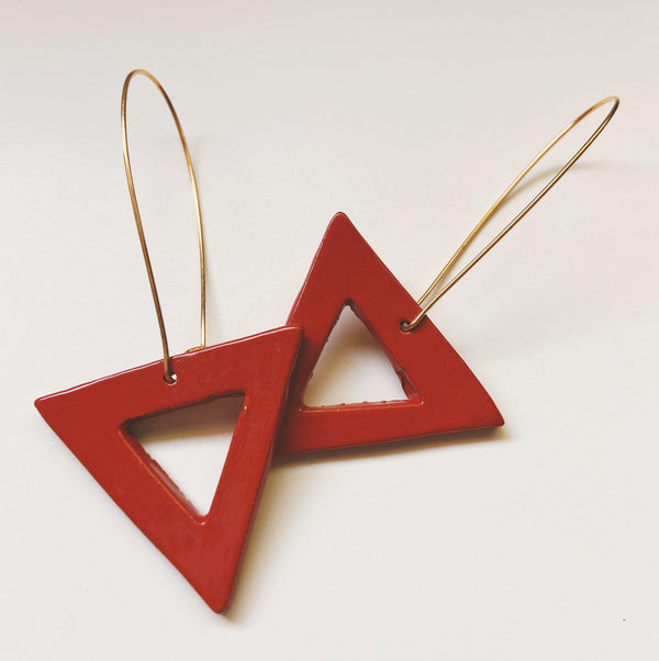 red triangle ceramic earring loops