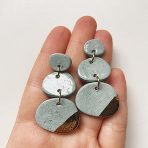blue and gold ceramic earrings