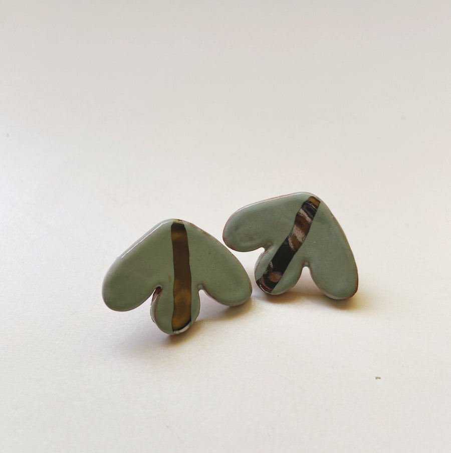 jade and silver abstract studs